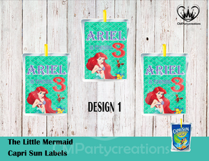 Little Mermaid Capri Sun Labels