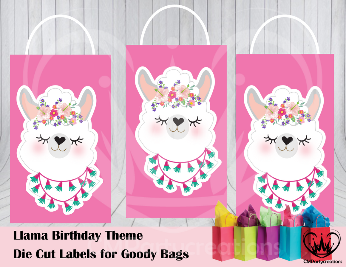 Llama Fun Die Cut Goody Bag Labels