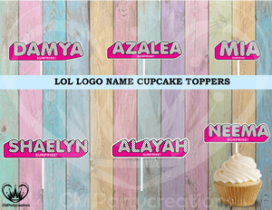 LOL Personalized Name Logo Cupcake Toppers