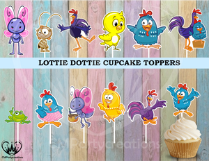 Lottie Dottie Chicken Cupcake Toppers