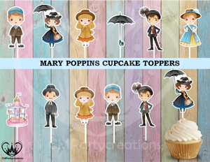 Mary Poppins Birthday Cupcake Toppers