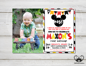 Mickey Mouse Invitation First Birthday Party