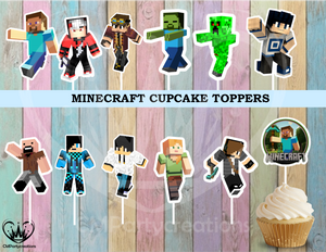 Minecraft Cupcake Toppers Birthday Party