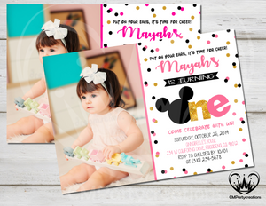 Minnie Mouse Invitation Gold Glitter Birthday