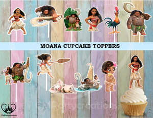Moana Birthday Party Cupcake Toppers Die Cuts