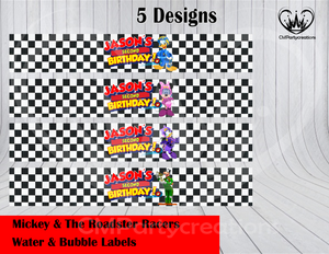 Mickey Roadster Water & Bubble Labels