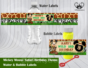 Mickey Safari Water & Bubble Labels