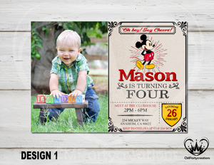 Mickey Minnie Mouse Rustic Invitation Classic