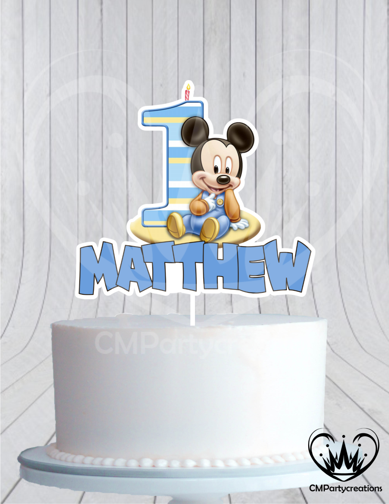 Miraculous Mickey Babys 1St Birthday Cake Topper Cmpartycreations Personalised Birthday Cards Cominlily Jamesorg
