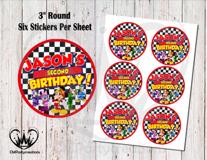"Mickey Roadster 3"" Round Stickers"