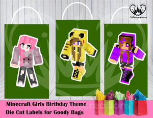 Minecraft Girls Die Cut Goody Bag Labels