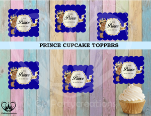 Baby Prince Blue/Gold Party Cupcake Toppers Die Cuts