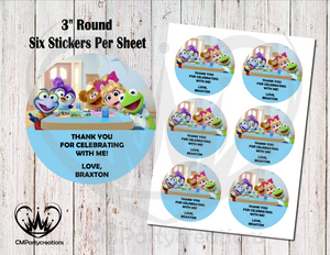 "Muppet Babies 3"" Round Thank You Stickers"