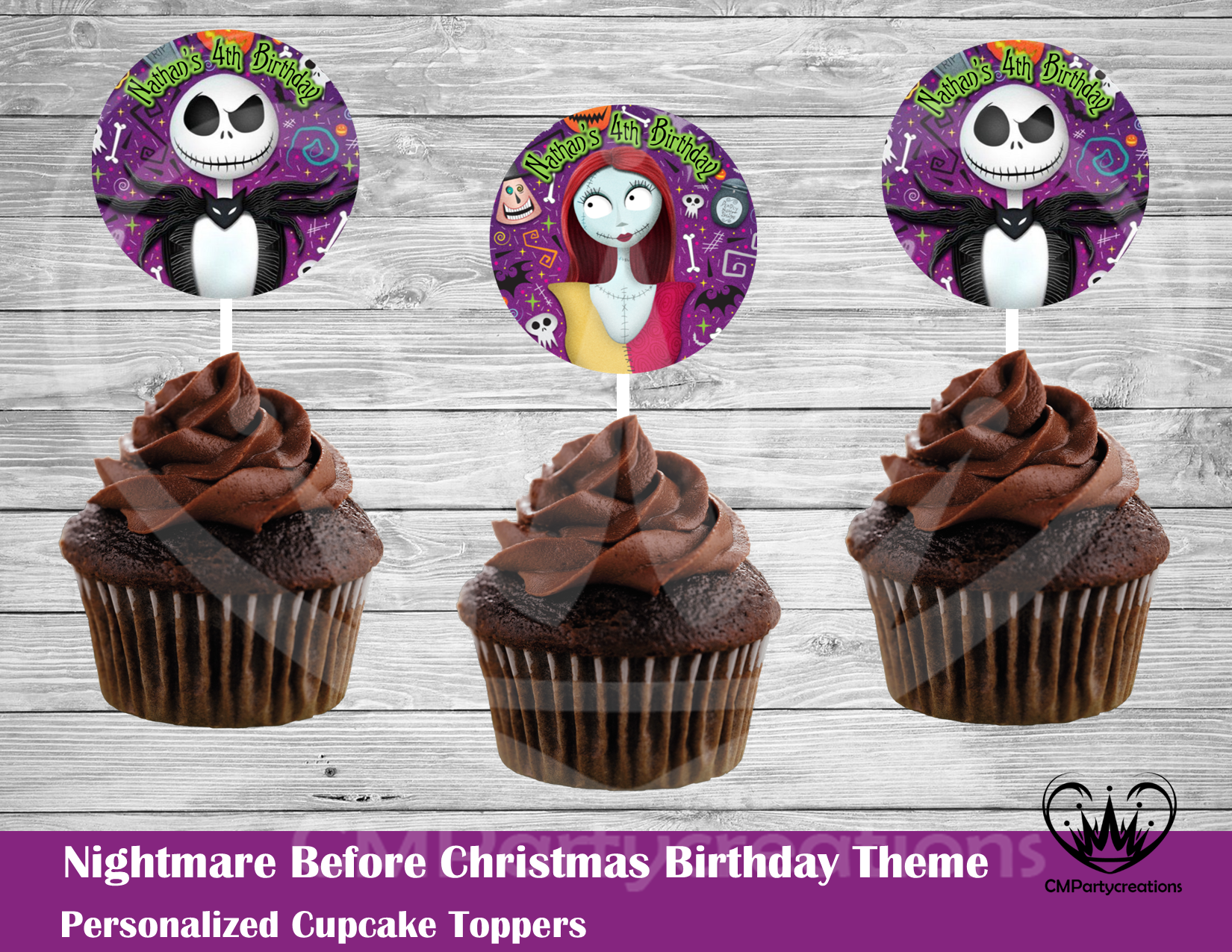 Nightmare Before Christmas Round Cupcake Toppers   CMPartycreations