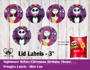 Nightmare Before Christmas Pringles Can and Lid Labels