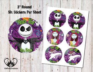 "Nightmare Before Christmas 3"" Round Thank You Stickers"