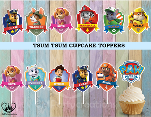 Paw Patrol Shields Birthday Party Cupcake Toppers Die Cuts