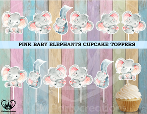 Baby Elephant Pink Cupcake Toppers
