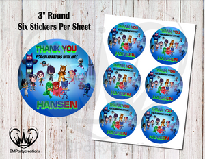 "PJ Masks and Friends 3"" Round Thank You Stickers"