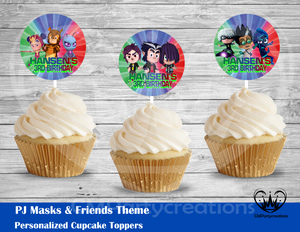 PJ Masks and Friends Round Cupcake Toppers