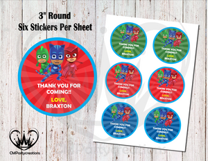 "PJ Masks 3"" Round Thank You Stickers"