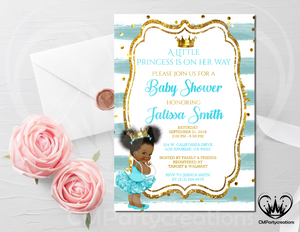 Princess Royal Baby Shower Invitation Turquoise Gold Crown