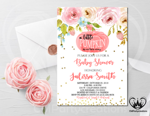 Pumpkin Baby Shower Little Girl Invitation