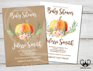 Pumpkin Baby Shower Invitation Rustic