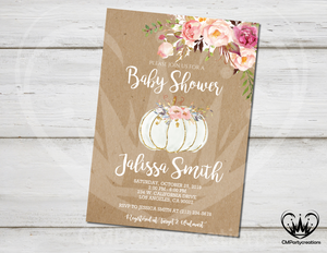 Pumpkin Baby Shower Invitation Fall Shower White