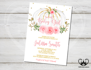 Pumpkin Baby Shower Invitation Sweet Baby Girl