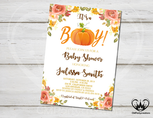 Pumpkin Baby Shower Invitation Its a Boy