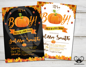 Pumpkin Baby Shower It's a Boy Invitation Party