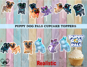 Puppy Dog Pals Birthday Party Cupcake Toppers Die Cuts