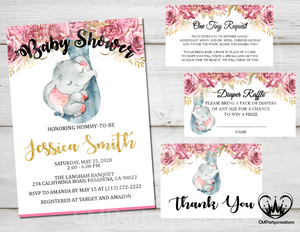 Elephant Floral Pink Blue Gold Baby Shower Invitation