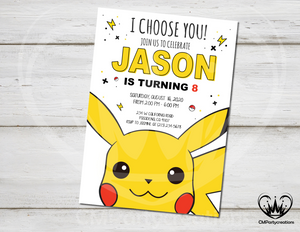 Pikachu Birthday Invite Pokemon
