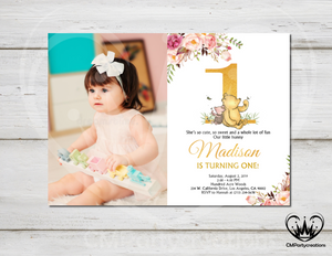Winnie The Pooh Invitation Girls First Birthday