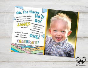 Oh! The Places They Will Go Birthday Invitation