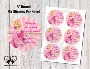 "Sleeping Beauty 3"" Round Thank You Stickers"
