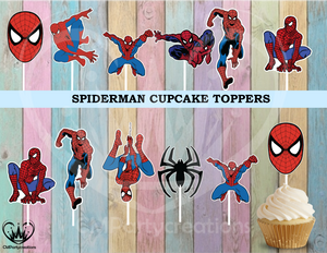Spiderman Birthday Party Cupcake Toppers Die Cuts