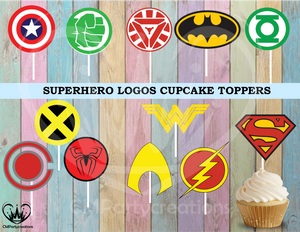 Superhero Logo Birthday Party Cupcake Toppers Die Cuts