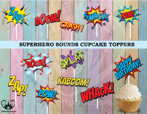 Superhero Sounds Birthday Cupcake Toppers Die Cuts