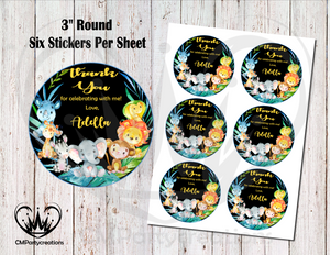 "Safari Animals 3"" Round Thank You Stickers"