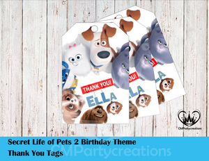 Secret Life of Pets Personalized Thank You Tags