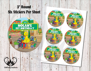 "Sesame Street Birthday 3"" Round Stickers"