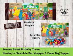 Sesame Street Hershey's Wrapper and Favor Bag Toppers