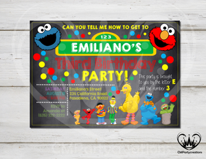 Sesame Street Chalkboard Invitation Birthday Party