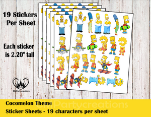 Simpsons Sticker Labels Whole Family
