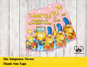 Simpsons Personalized Thank You Tags