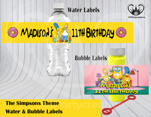 Simpsons Water & Bubble Labels