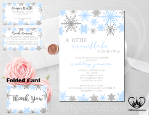 Snowflake Little Baby Shower Invitation